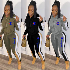 Sweater embroidered letter splicing sports suit