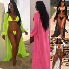 Two Piece Bikini + Long Sleeve Blouse three piece swimsuit suit