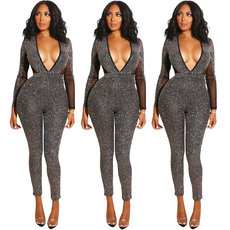 Open back shiny long sleeve Jumpsuit