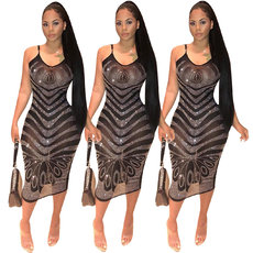 Mesh perspective Sling Dress