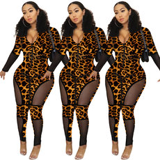 Tight leopard print perspective Jumpsuit