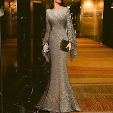 Long sleeve slim evening dress