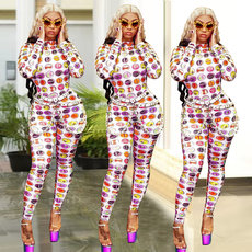 Fashion casual digital printing Jumpsuit