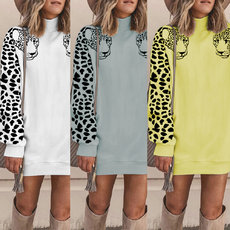 Casual fashion high neck leopard top