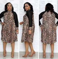 Leopard stitched mesh Long Sleeve Dress