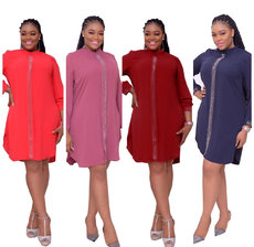 Pure color hot drill Patchwork Long Sleeve Dress