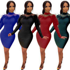 Long sleeve V-neck mesh feather bandage dress