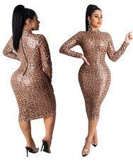 Fashion leopard bead slim sexy dress