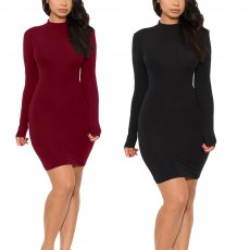 Open back bandage cut out long sleeve dress