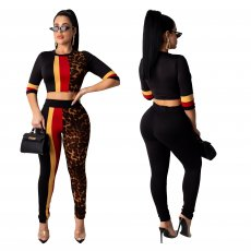 Fashion leopard print casual splicing sports suit