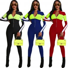 Fashionable sports style deep V multicolor Jumpsuit