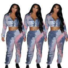 Fashion printed two piece Hoodie set
