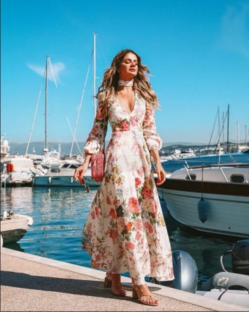 Deep V Long Sleeve Printed Dress