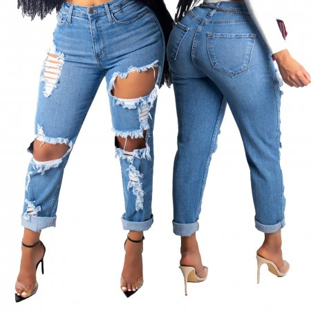 Fashion big hole elastic jeans