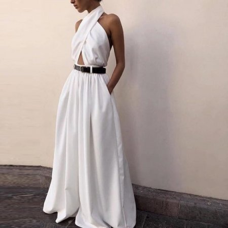 Sleeveless neck-hung open-back Jumpsuits