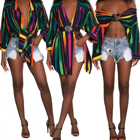Colour rainbow sexy striped shirt dress