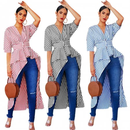 Irregular shirts with blue and white stripes