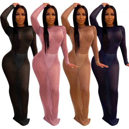 Bright hollowed-out long-sleeved nightclub dress