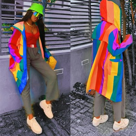 Multi-coloured jacket with cap and dress