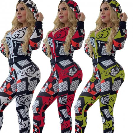 Printed recreational sport cap two-piece suit