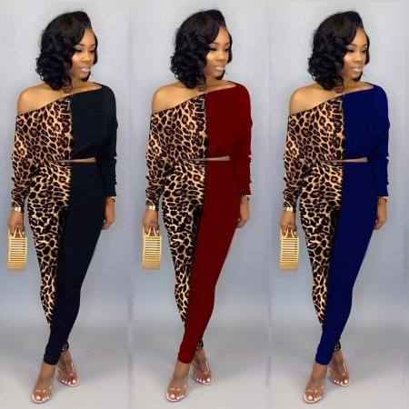 Leopard pattern Shoulder-exposed two-piece set