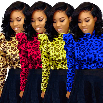Colourful leopard-print high-collar jacket (jacket only)