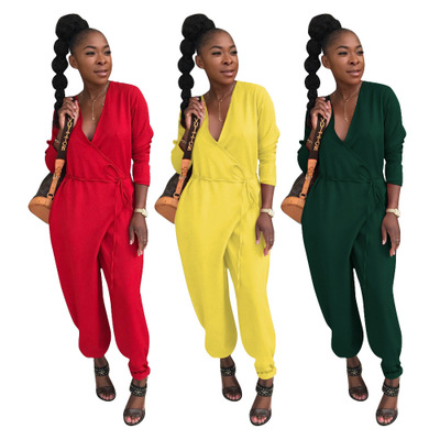 Deep V Low Chest Loose Pure Long Sleeve Jumpsuits