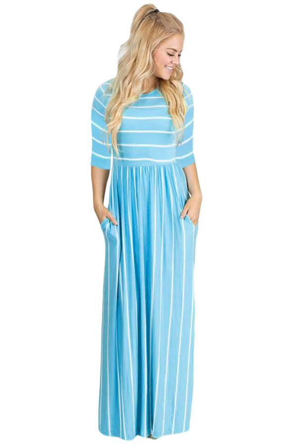 8a0d67f7d Blue White Striped Casual Pocket Style Maxi Dress