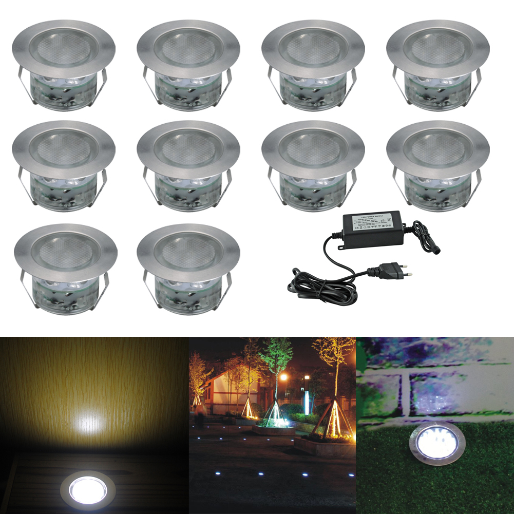 Fvtled Low Voltage Led Deck Lighting Kit Stainless Steel Waterproof Outdoor Landscape Garden Yard Patio Step Decoration Lamps In Ground Lights
