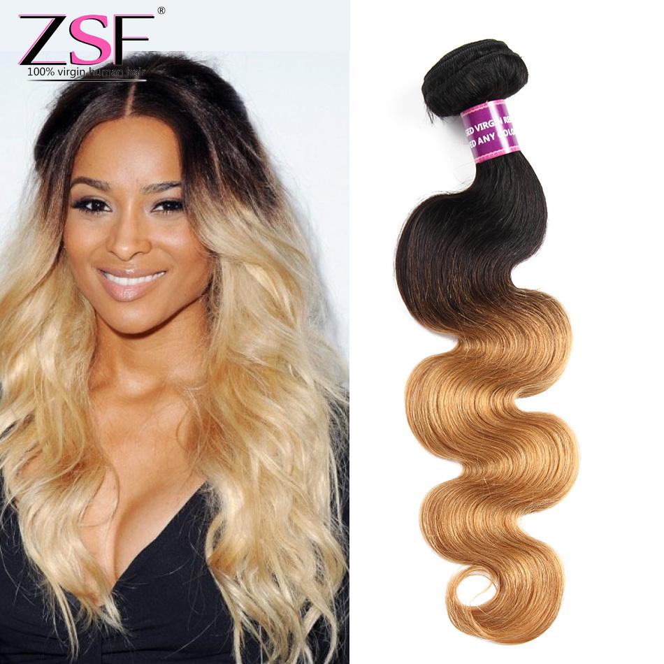 Zsf 8a Blonde Brazilian Body Wave Bundles Ombre Human Hair Weave