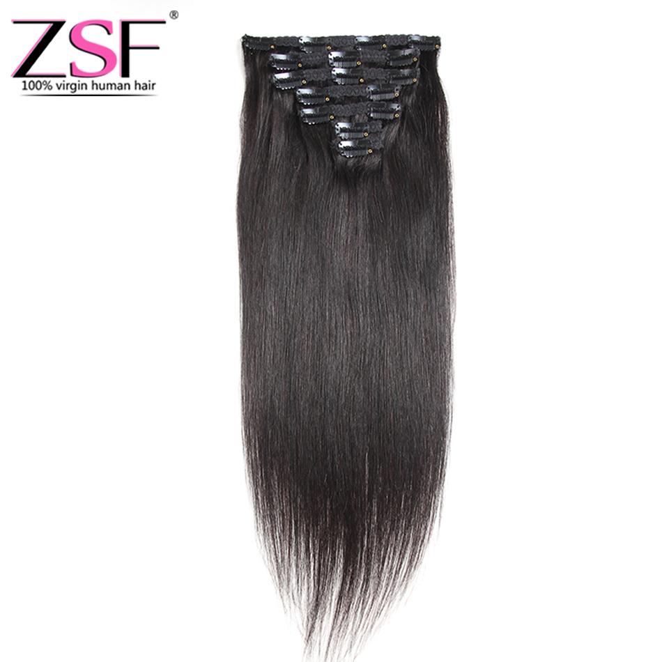 Zsf Clip In Human Hair Extensions Straight Full Head Set 7pcs 100g