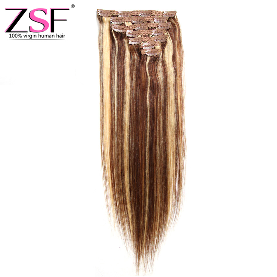 Zsf 4 27 Clip In Human Hair Extensions Straight Full Head Set 7pcs