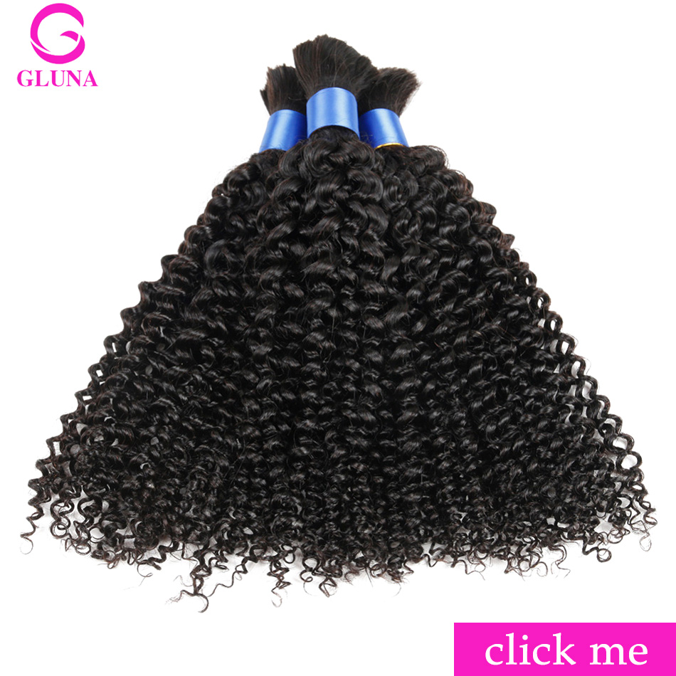 Gluna 3 Bundles Deals Human Braiding Hair Bulk Indian Kinky Curly