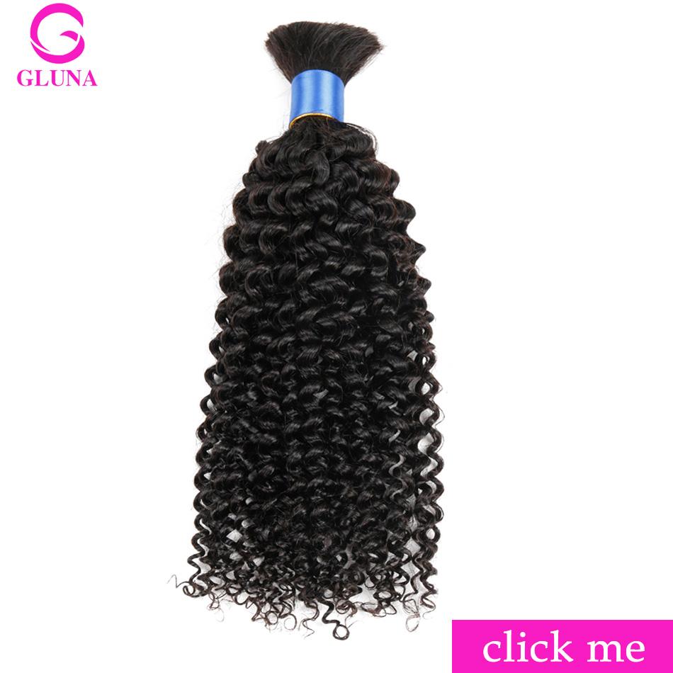 Gluna 1 Bundle Deal Human Braiding Hair Bulk Indian Kinky Curly Hair