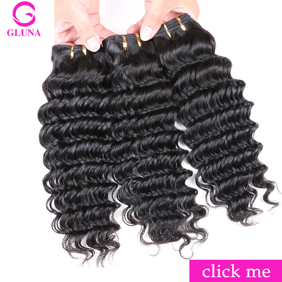 Gluna Deep Wave Human Hair Bundles 3 Pcslot Brazilian Hair Weave