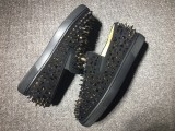 Men Red Bottom Sneakers Christian Louboutin Flat Boat Black Shoes With Spikes