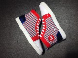 christian louboutin for men red blue stripe canvas high top sneakers