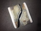 Louboutin for man sneakers Christian Louboutin Gold Spikes Strass Flat Men Shoes