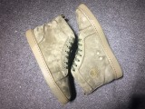 Christian Louboutin High Top Flats Army Green Suede Men Sneakers