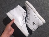 Christian Louboutin High Top Flats White Leather Men Sneakers