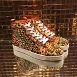 Christian Louboutin High Top Leopard Print With Spikes Flats Men Sneakers