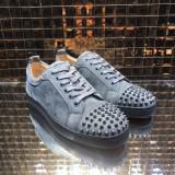 Christian Louboutin Grey Suede Low Top Junior Men Shoes