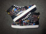 Christian Louboutin Black Leather Graffiti High Top Flats Men Sneakers