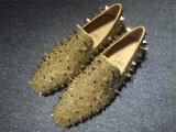 loafers for men Christian Louboutin Loafer Gold Spikes Men Shoes