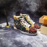 Christian Louboutin High Top Colorful Spikes Men Shoes