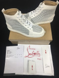 Christian Louboutin White Leather With Net High Top Flats Men Sneakers