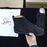 Louboutins Men Christian Louboutin Flat Black Strass Black Men Shoes