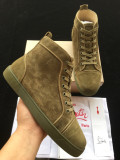 Christian Louboutin Army Green Suede High Top Flats Men Sneakers