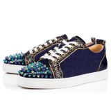 Christian Louboutin Sneaker Low Top Junior Blue Toes With Strass Spikes Men Shoes