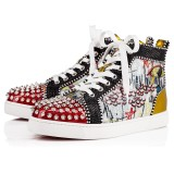 Christian Louboutin High Top Silver Spikes Men Shoes Lou Spikes Woman Flat